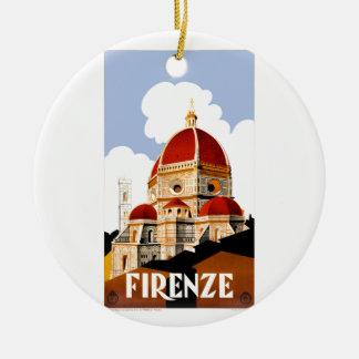 Ornement Rond En Céramique Affiche 1930 de voyage de Duomo de Florence Italie