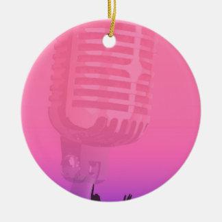 Ornement Rond En Céramique Affiche d'assistance de nuit de karaoke