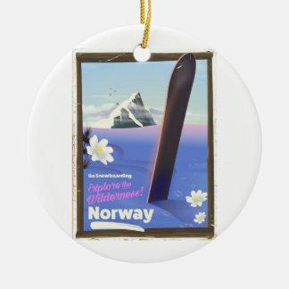 Ornement Rond En Céramique Affiche vintage de voyage de style de snowboarding