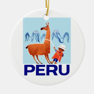Ornement Rond En Céramique Affiche vintage de voyage du Pérou d'enfant et de