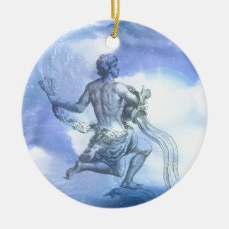 Ornement Rond En Céramique Âge de zodiaque de Verseau
