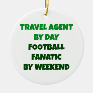 Ornement Rond En Céramique Agent de voyage par le fanatique du football de