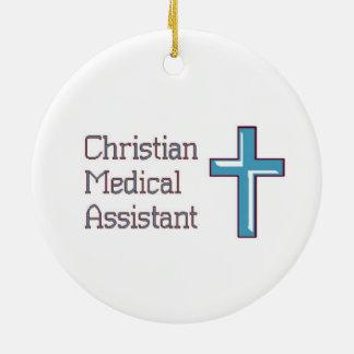 Ornement Rond En Céramique Aide médical chrétien