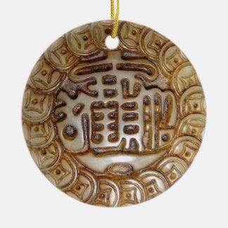 Ornement Rond En Céramique Aimant chinois antique d'argent !