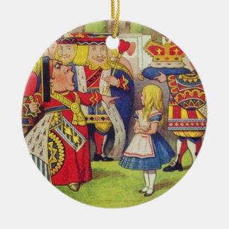 Ornement Rond En Céramique Alice et la reine des coeurs