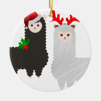 Ornement Rond En Céramique alpaga de renne de Noël