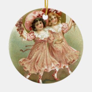 Ornement Rond En Céramique Amitié vintage rose de Saint-Valentin