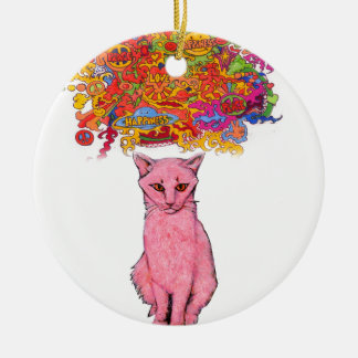 Ornement Rond En Céramique Amour et bonheur Kitty de paix