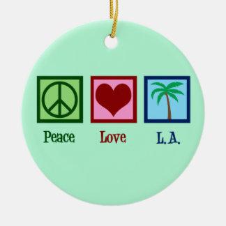 Ornement Rond En Céramique Amour L.A. Los Angeles de paix