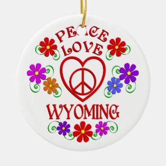 Ornement Rond En Céramique Amour Wyoming de paix