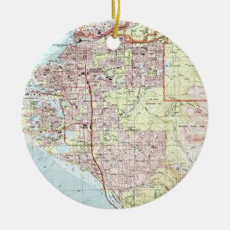 Ornement Rond En Céramique Anchorage Alaska Map (1994)