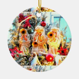Ornement Rond En Céramique Anges de Joyeux Noël customisés
