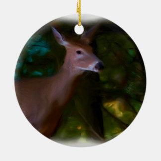 Ornement Rond En Céramique Animal un regard de cerfs communs