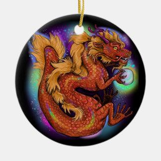 Ornement Rond En Céramique Année chinoise de zodiaque du dragon