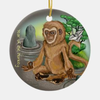 Ornement Rond En Céramique Année chinoise de zodiaque du singe