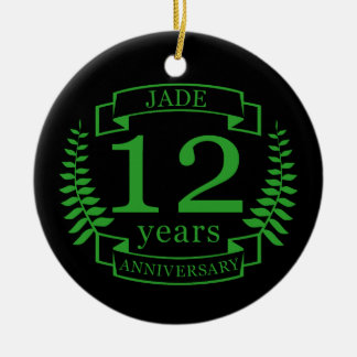 Ornement Rond En Céramique Anniversaire de mariage de pierre gemme de jade 12