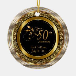 Ornement Rond En Céramique Anniversaire d'or de coutume cinquantième
