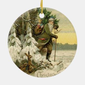 Ornement Rond En Céramique Antiquité vintage d'arbre de Noël de Père Noël