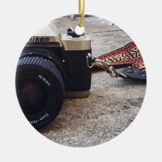 Ornement Rond En Céramique Appareil-photo de film de Nikon