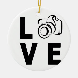 Ornement Rond En Céramique appareil-photo et amour