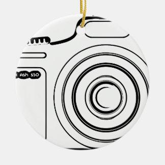 Ornement Rond En Céramique Appareil-photo noir et blanc