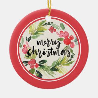 Ornement Rond En Céramique Aquarelle de Noël | - guirlande de Joyeux Noël