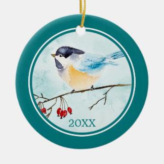 Ornement Rond En Céramique Aquarelle de Noël   - oiseau et baies d'hiver