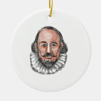 Ornement Rond En Céramique Aquarelle principale de William Shakespeare