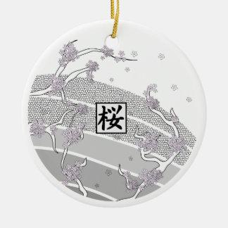 Ornement Rond En Céramique Arbre blanc de fleurs de cerisier