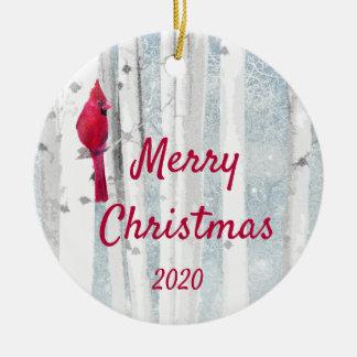 Ornement Rond En Céramique Arbre de bouleau cardinal d'oiseau de Noël daté de