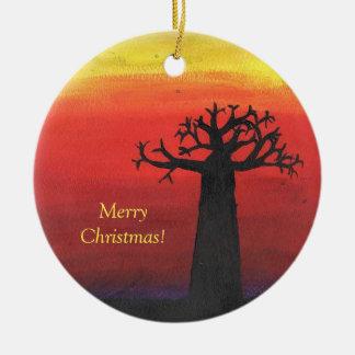 Ornement Rond En Céramique Arbre de Noël de baobab
