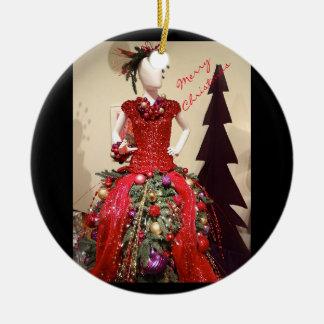 Ornement Rond En Céramique Arbre de Noël de mannequin de forme de robe