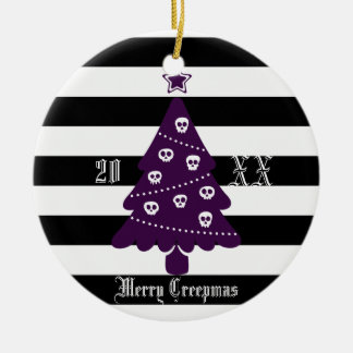 Ornement Rond En Céramique Arbre de Noël gothique avec des rayures