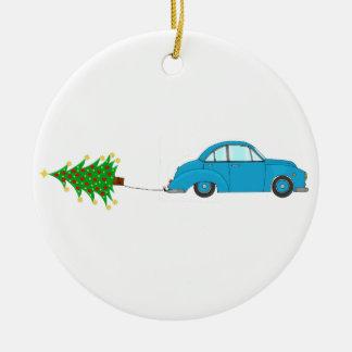 Ornement Rond En Céramique Arbre de remorquage de voiture de Noël