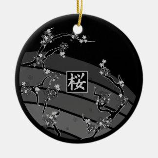 Ornement Rond En Céramique Arbre noir de fleurs de cerisier
