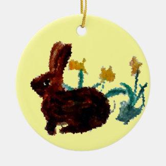 Ornement Rond En Céramique Art de jonquille de lapin de ressort