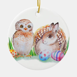 Ornement Rond En Céramique Art de Pâques de hibou et de lapin