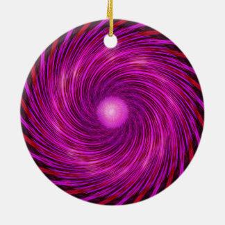 Ornement Rond En Céramique Art en spirale noir rose de kaléidoscope de vague