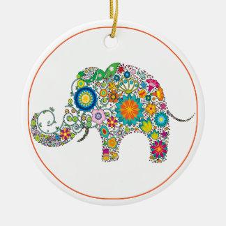 Ornement Rond En Céramique Art floral d'éléphant