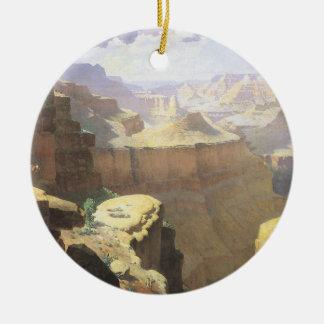 Ornement Rond En Céramique Art occidental américain vintage, canyon grand par