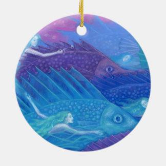 """Ornement Rond En Céramique Art, sirènes, poissons et mer d'imaginaire """"de"""