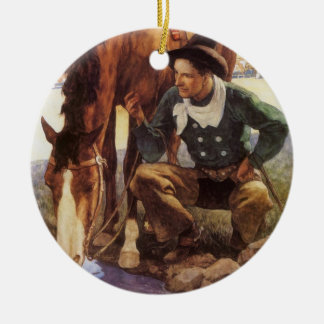 Ornement Rond En Céramique Art vintage, cowboy arrosant son cheval par OR