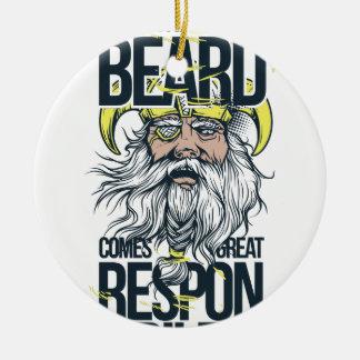 Ornement Rond En Céramique avec la grande barbe vient la grande