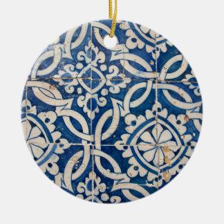 Ornement Rond En Céramique Azulejo portugais vintage