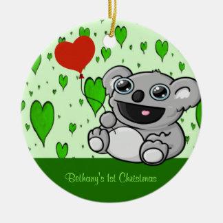 Ornement Rond En Céramique Ballon de coeur de koala