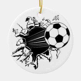 Ornement Rond En Céramique Ballon de football éclatant