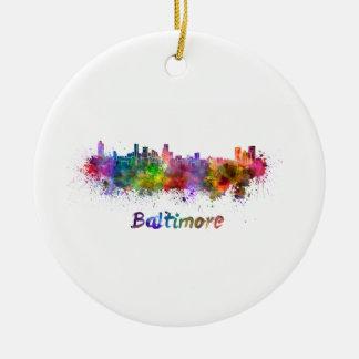Ornement Rond En Céramique Baltimore skyline in watercolor