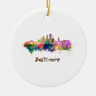 Ornement Rond En Céramique Baltimore V2 skyline in watercolor
