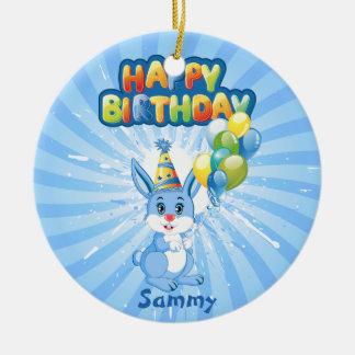 Ornement Rond En Céramique Bande dessinée bleue d'anniversaire de lapin
