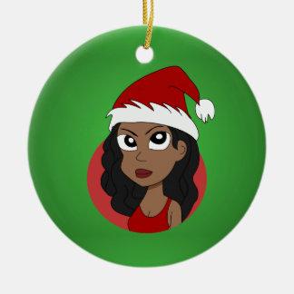 Ornement Rond En Céramique Bande dessinée de fille de Noël